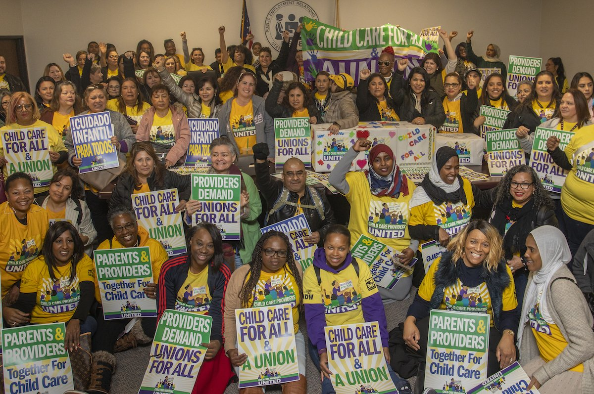 Family Child Care Providers Say Union Yes! Family child care providers - SEIU Local 99 Members - voted to certify their union Child Care Providers United in the largest union election in 20 years!